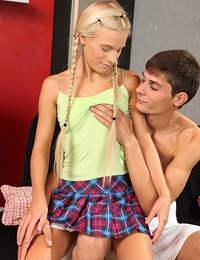 Adorable slim teen girl giving head and taking a huge male rod deep inside her pussy.